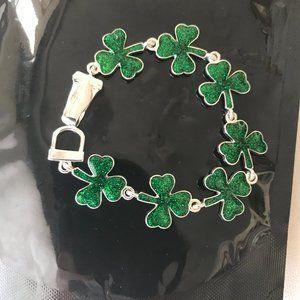 Shamrock Bracelet Green Magnetic Closure St Paddy